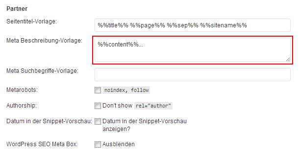 Screenshot Config / WordPress SEO by Yoast