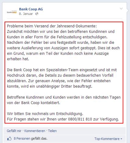 Bank Coop Datenpanne / Facebook-Eintrag